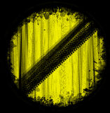 Yellow sign tire marks Royalty Free Stock Photo