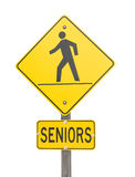 Sign warning of a senior's crossing. Stock Images