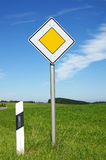 Yellow sign with white border  Royalty Free Stock Image