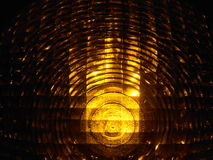 Yellow signal light. At a construction site at night Royalty Free Stock Photography