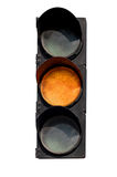 Yellow signal of the traffic light Stock Photos