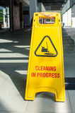 Yellow signboard shows cleaning in progress Royalty Free Stock Photography