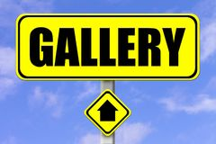 Yellow signboard with the word Gallery written stock illustration
