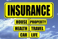 Yellow signboard with the word Insurance written royalty free illustration