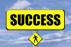 Yellow signboard with the word Success written stock illustration