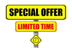 Yellow signboard with the words Special Offer Limited Time written vector illustration