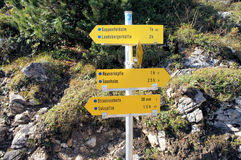 A signpost in the Allgaeu Alps Stock Image