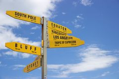 Yellow signposts to major cities from Cape Reinga, New Zealand. Cape Reinga is New Zealand's northernmost point and a popular tourist destination. Visitors come Royalty Free Stock Photos