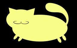 Yellow silhouette of a fat cat with a mustache, with short paws and a big snout with ears sticking upwards on a white background,. Icon. Vector illustration Royalty Free Stock Photography