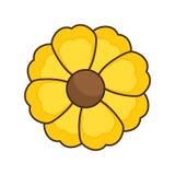 Yellow silhouette figure flower icon floral Stock Photos