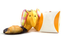 Yellow silk elephant toy Royalty Free Stock Photos