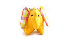 Yellow silk elephant toy Stock Images