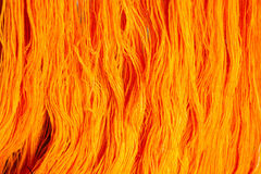 Yellow silk for weaving Stock Photo