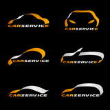 Yellow and silver ribbon line car logo vector set design on black background Stock Photos