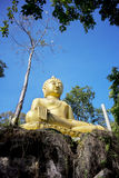 Yellow sitting Budha image with blue sky Stock Images