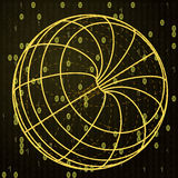 Yellow sketch with binary code over sphere Stock Photos