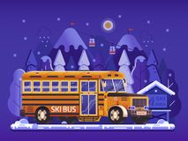 Yellow Ski Bus Shuttle on Winter Background royalty free illustration
