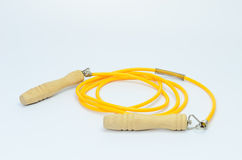 Yellow skipping rope isolated Stock Photo