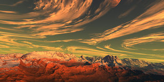 Yellow sky. Abstarct nice sky and red mountains royalty free illustration