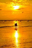 Yellow sky at beach and sunset. Thailand Royalty Free Stock Images
