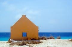 Yellow slavehut. Bonaire. Yellow slavehut at beach. Bonaire Netherlands Antilles Stock Photography