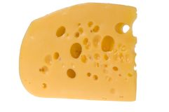Yellow slice of cheese isolated Royalty Free Stock Image