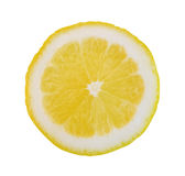 Yellow slice lemon isolated on white background, clipping path i Stock Image