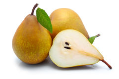 Yellow Sliced Pears With Green Leaf Isolated Royalty Free Stock Image