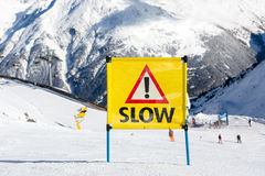 Yellow slow sign Royalty Free Stock Image
