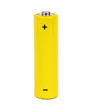 Yellow small battery. With positive and negative signs Royalty Free Stock Image