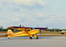Yellow Small Plane. In private airport royalty free stock photography