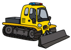 Yellow small snowplow. Hand drawing of a funny yellow small snowplow stock illustration