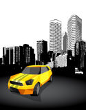 Yellow small sport car with cityscape Royalty Free Stock Image