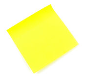 Yellow small sticky note. On white Stock Photo