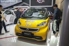 Yellow smart car Stock Photos