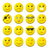 Yellow Smile Emotion Icons Set. Vector. Illustration Stock Images