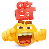 Yellow smile face emoji character with anger emotion. Vector illustration Stock Image