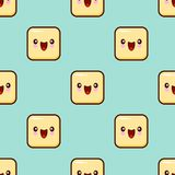 Yellow Smile Face Seamless Pattern Background Cute emoticons emoji. Flat design Royalty Free Stock Images