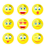 Yellow Smile Icons. On white Stock Photo