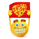 Yellow smile round face character with love message banner Stock Photos