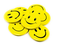Yellow smiles. Many funny yellow smiles stock photography