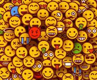Yellow smiles background. Emoji texture. Royalty Free Stock Photo