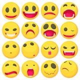 Yellow smiles fun icons set, cartoon style Royalty Free Stock Images