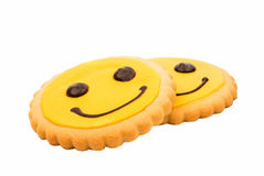 Yellow Smiley biscuit Royalty Free Stock Photo