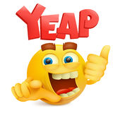 Yellow smiley emoticon cartoon character with yeap title Stock Image