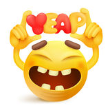 Yellow smiley emoticon cartoon character with yeap title. Royalty Free Stock Photography