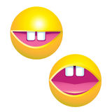 Yellow smiley face. With big toothy smile stock illustration