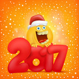 Yellow smiley face character. New year card. Vector illustration Royalty Free Stock Image