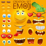 Yellow smiley face character for your scenes template. Emotion big set. Vector illustration stock illustration