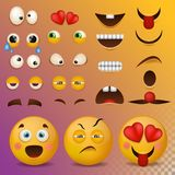 Yellow smiley face character for your scenes template smile cartoon emoji elements emotion big set vector illustration. Yellow smiley face character for your Royalty Free Stock Image